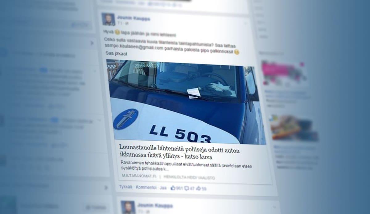 Poliisi sai sakkolapun, kuvalainaus Jounin kaupan Facebook-sivulta.