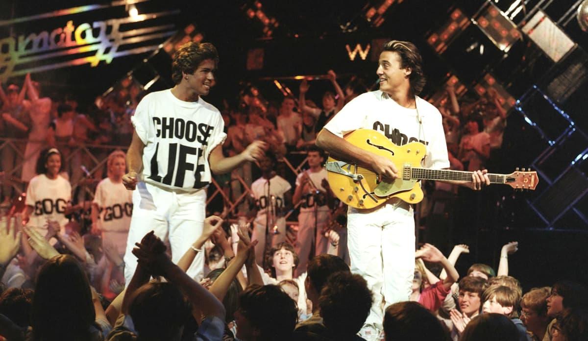 Wham-yhtye eli Andrew Ridgeley ja George Michael vuonna 1984.