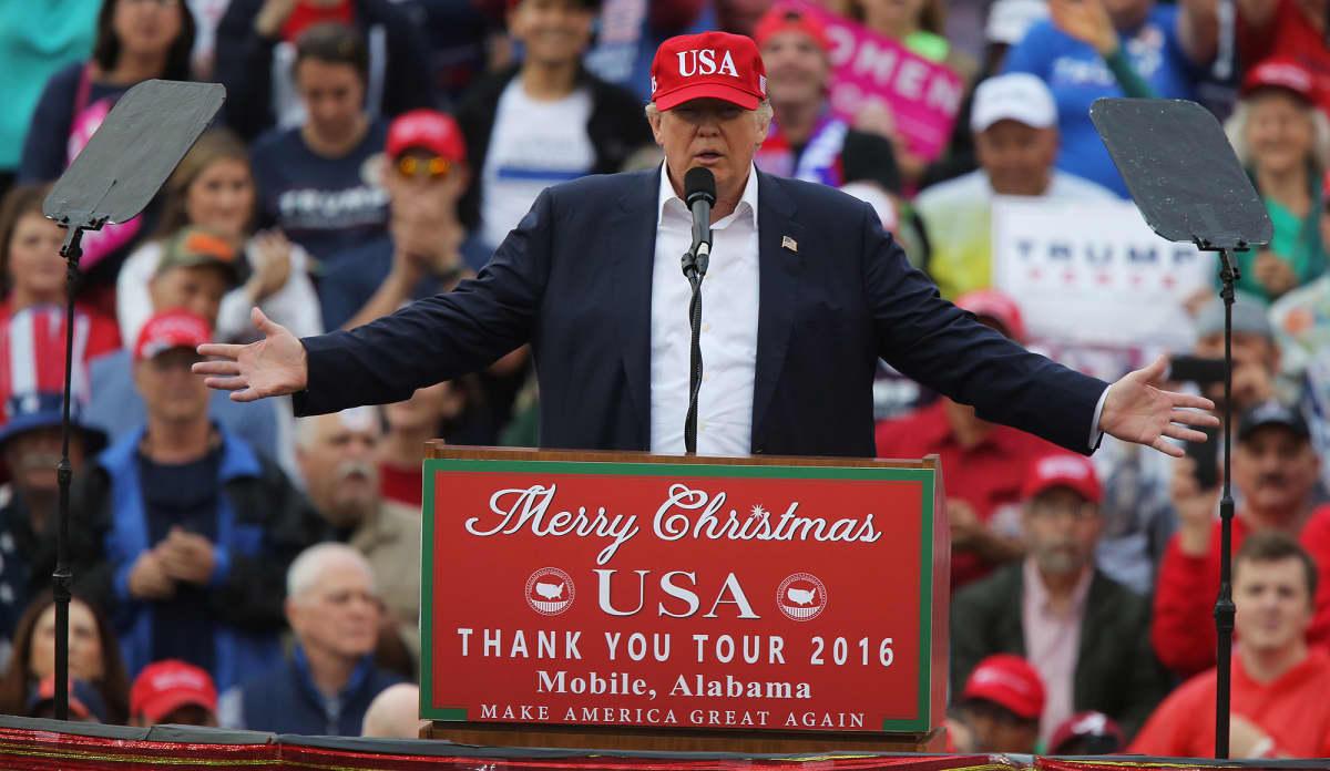 Donald Trump Alabamassa, Yhdysvalloissa 17. joulukuuta 2016.