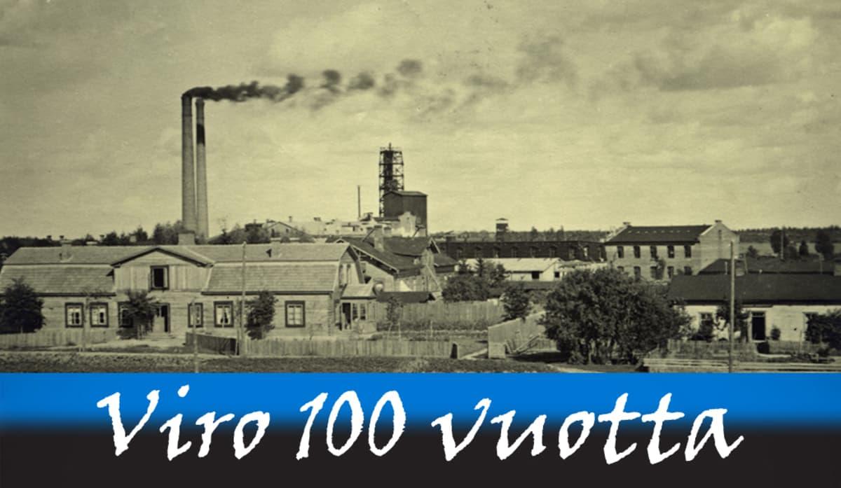 1920-luvun tehdasrakennuksia. Kaksi korkeaa savupiippua tupruttaa savua taivaalle.