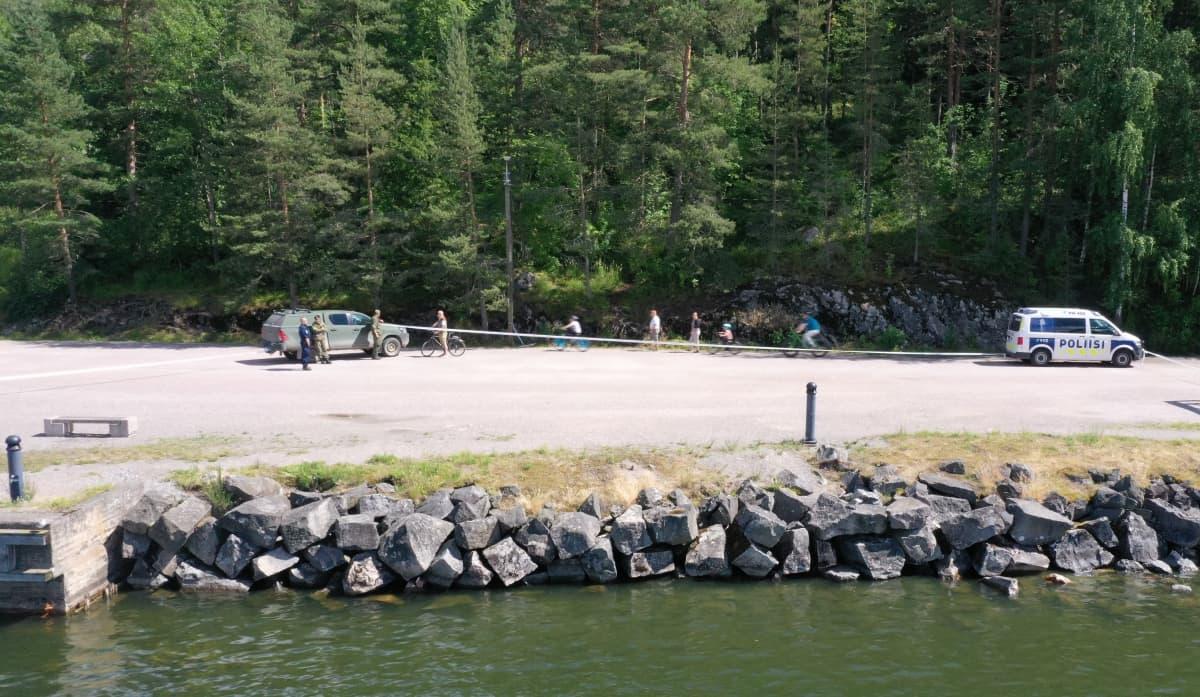 Ilmakuva Lahden satamasta 2.7.2020 jolloin osa alueesta eristetty kranaattilöydöksen vuoksi.