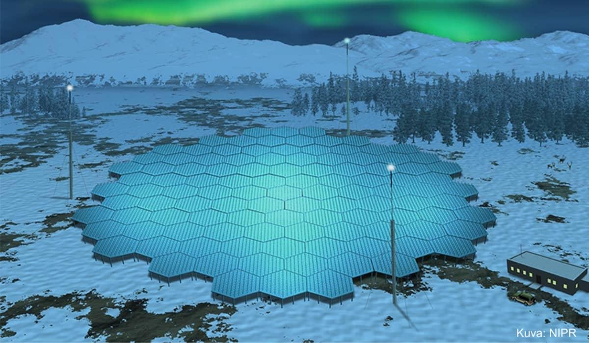 Uuden EISCAT 3D tutkan maa-aseman havainnekuva.