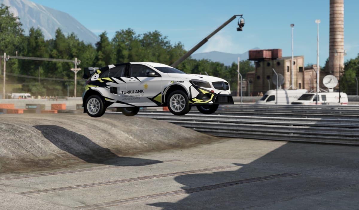 Turun ammattikorkeakoulussa rakennetaan rallicross-sähköautoa opiskelijavoimin. Kuvassa havainnekuva valmiista autosta.