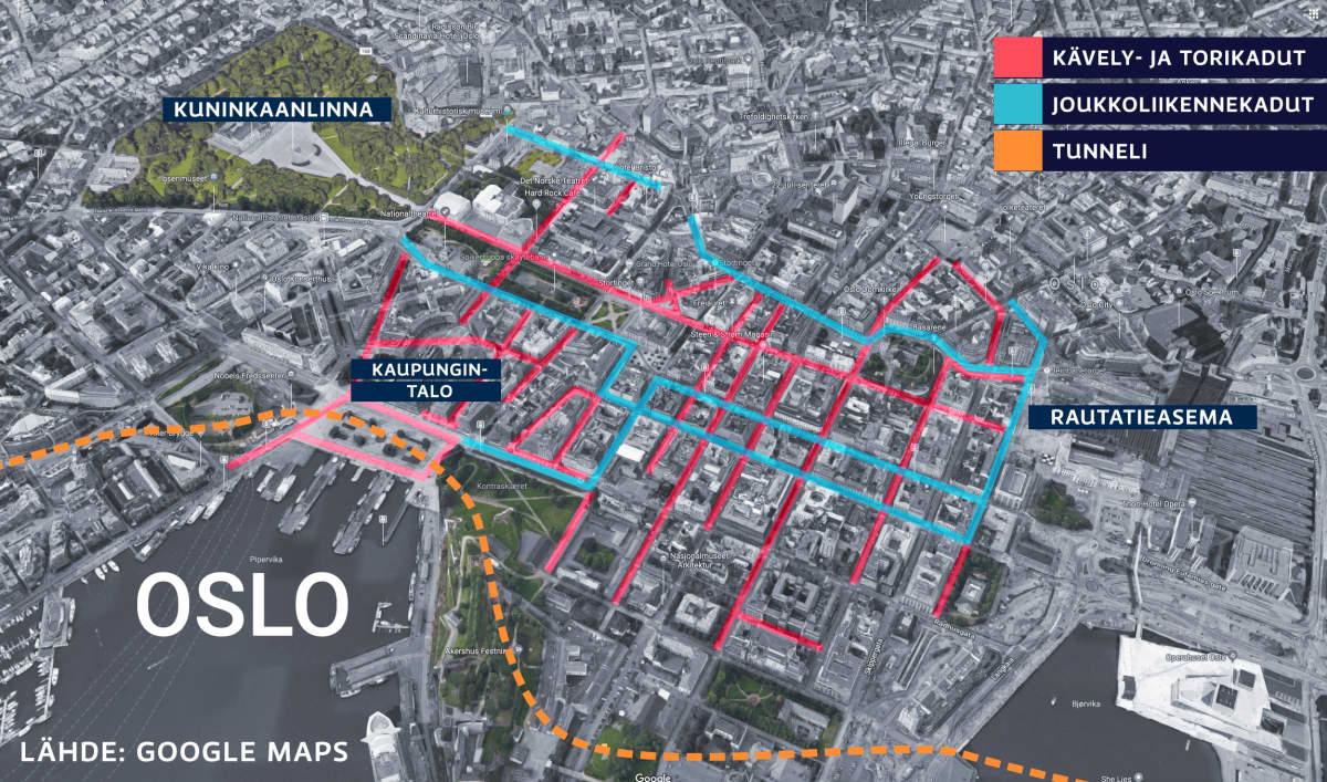 Oslon keskustan kartta, johon merkitty joukkoliikennekadut ja kävely- sekä torikadut