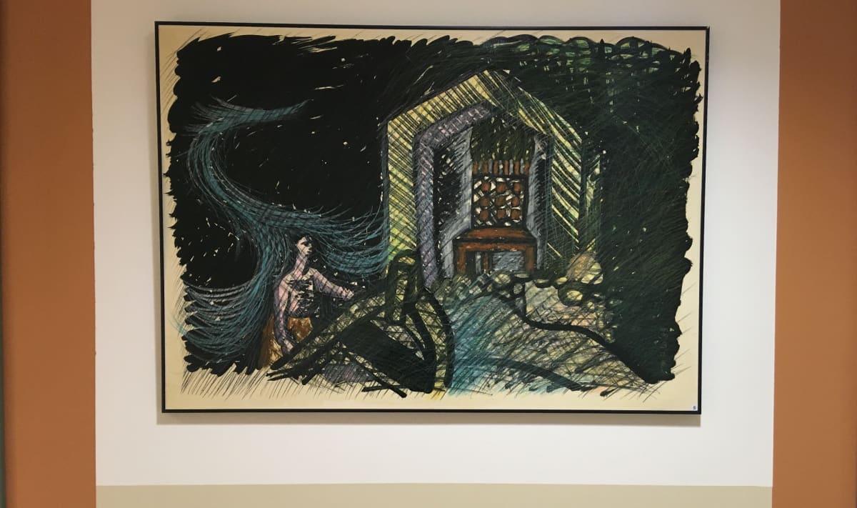 Mustasävyinen maalaus kotkalaisen hoivakodin seinällä.