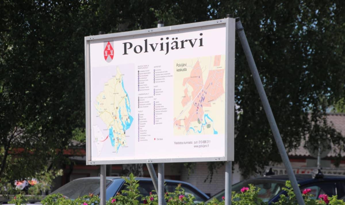 Polvijärven opastekyltti.
