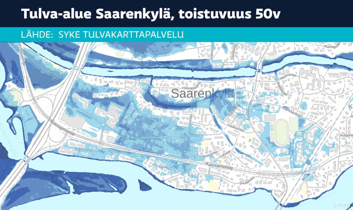 Rovaniemi Saarenkylä tulva-alue toistuvuus kerran 50 vuodessa