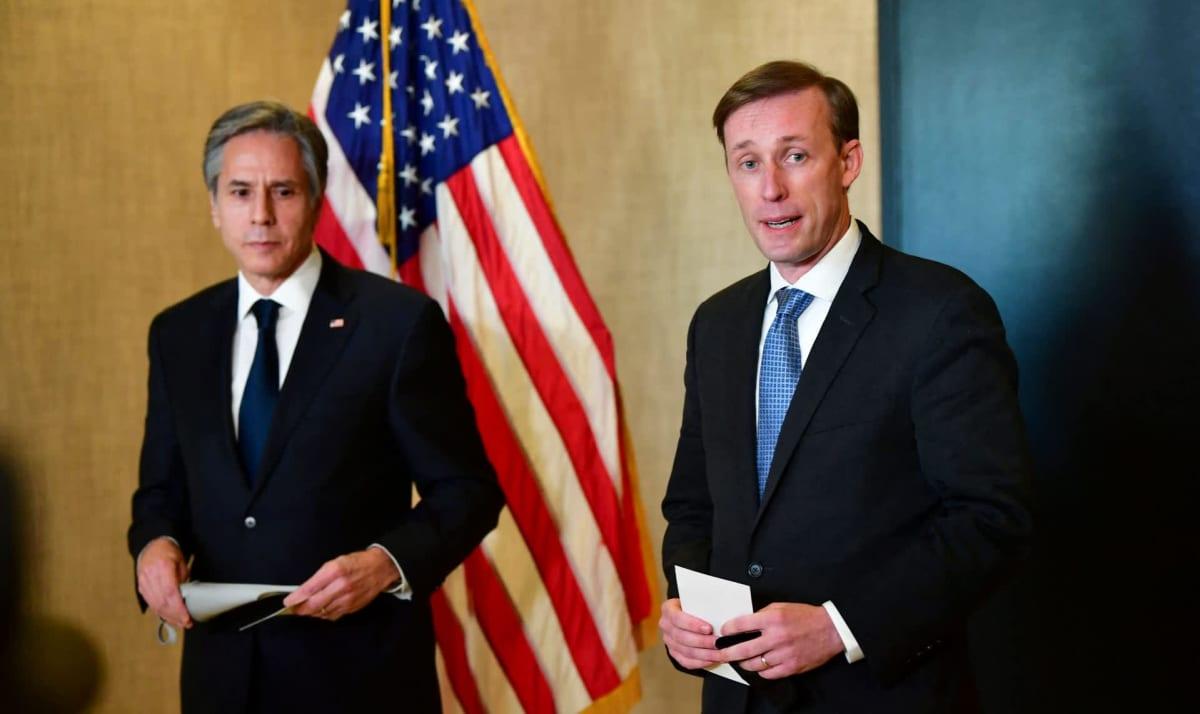 Yhdysvaltain ulkoministeri Antony Blinken ja turvallisuusneuvonantaja Jake Sullivan.