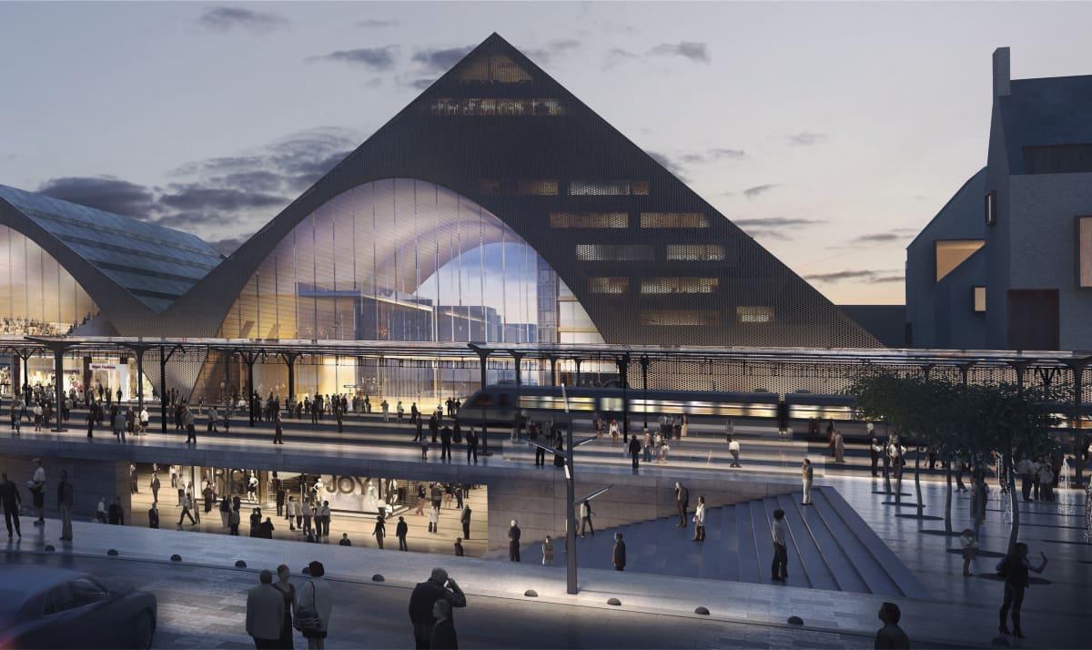 HUOM. Asemakeskusta ei enää välttämättä suunnitella arkkitehtikilpailun voittajatyön mukaisesti. Oulun asemanseudun arkkitehtikilpailu voittajatyön kuva uudenlaisesta rautatieasemasta vuodelta 2017.