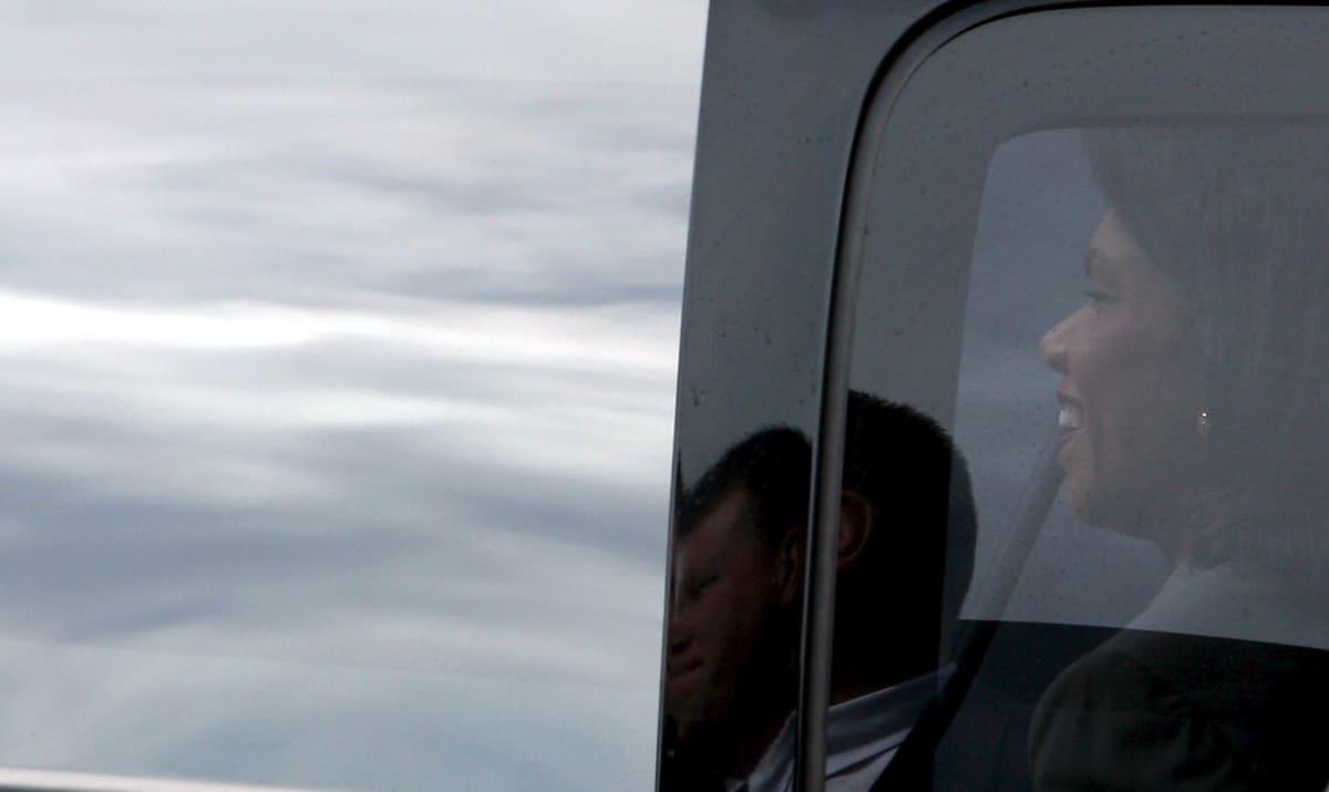 Ulkoministeri Condoleezza Rice käymässä Länsirannalla vuonna 2008.