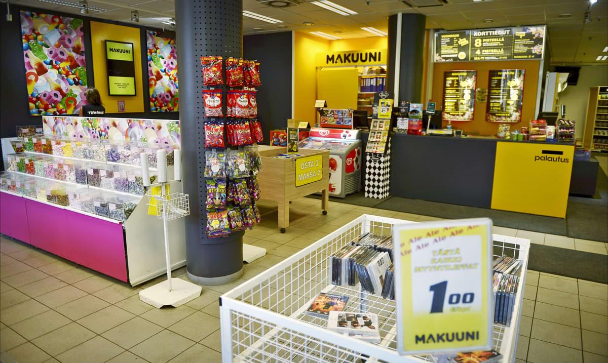 Videovuokraamo Makuunin myymälä.