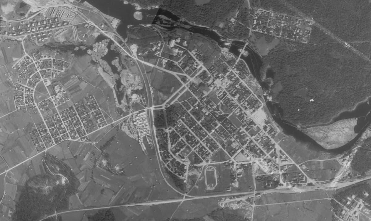 Ilmakuva Kajaanin keskustasta 1939