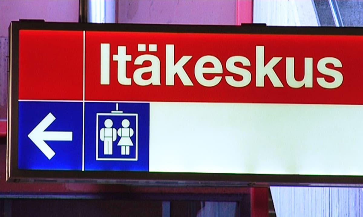 Itäkeskus-kyltti metroasemalla.