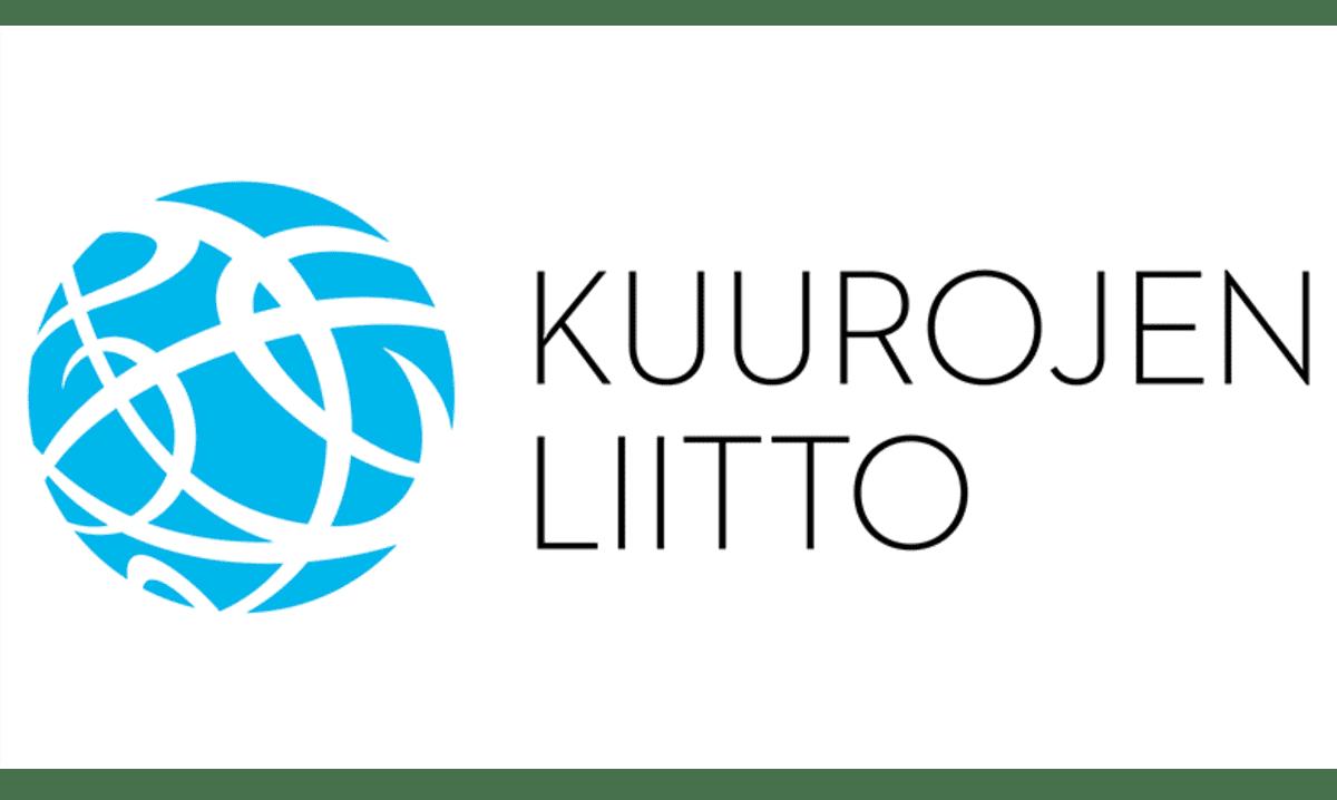 """Kuurojen liiton sinivalkoinen logo ja teksti """"Kuurojen Liitto""""."""