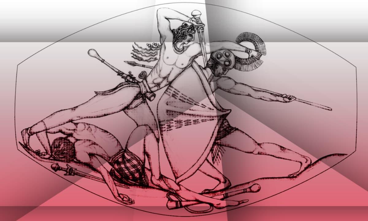 Piirroskuva taistelusta, jossa lannevaatteisiin pukeutuneet soturit ovat varustautuneet miekoin ja keihäin. Toisella on kypärä, jossa on töyhtö, toisella liehuvat hiukset. Maassa makaa kuollut soturi.