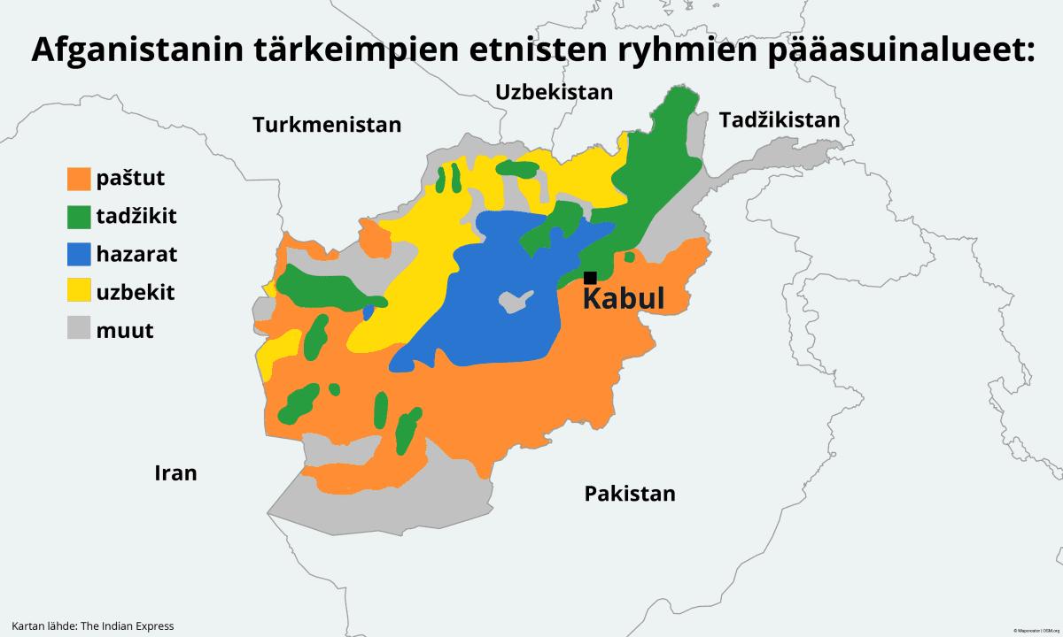 Kartta Afganistanin etnisistä ryhmien asuinalueista.