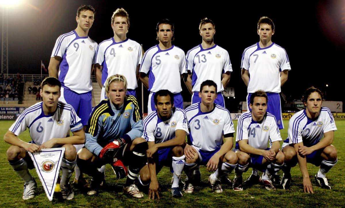 Finlands U21-landslag i fotboll, februari 2008.