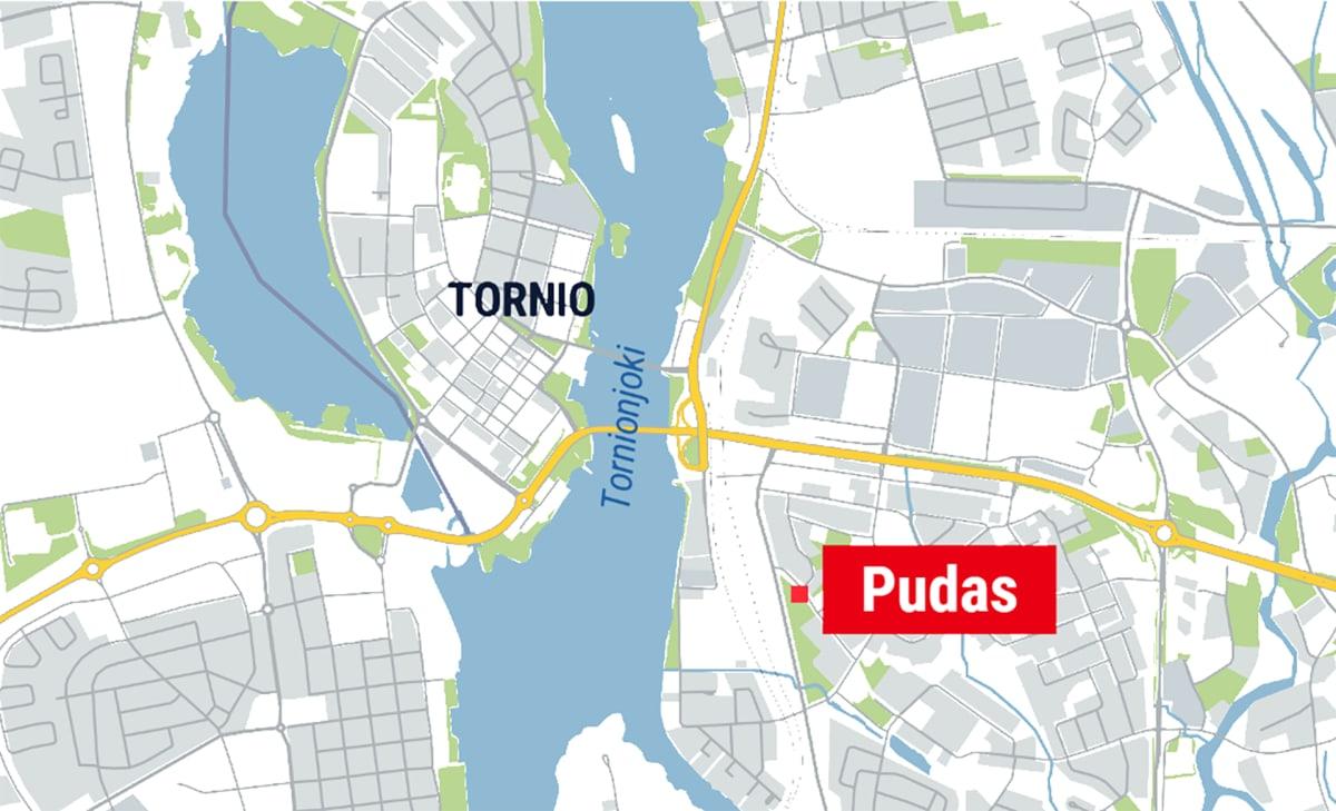 tornion kartta jossa Pudas