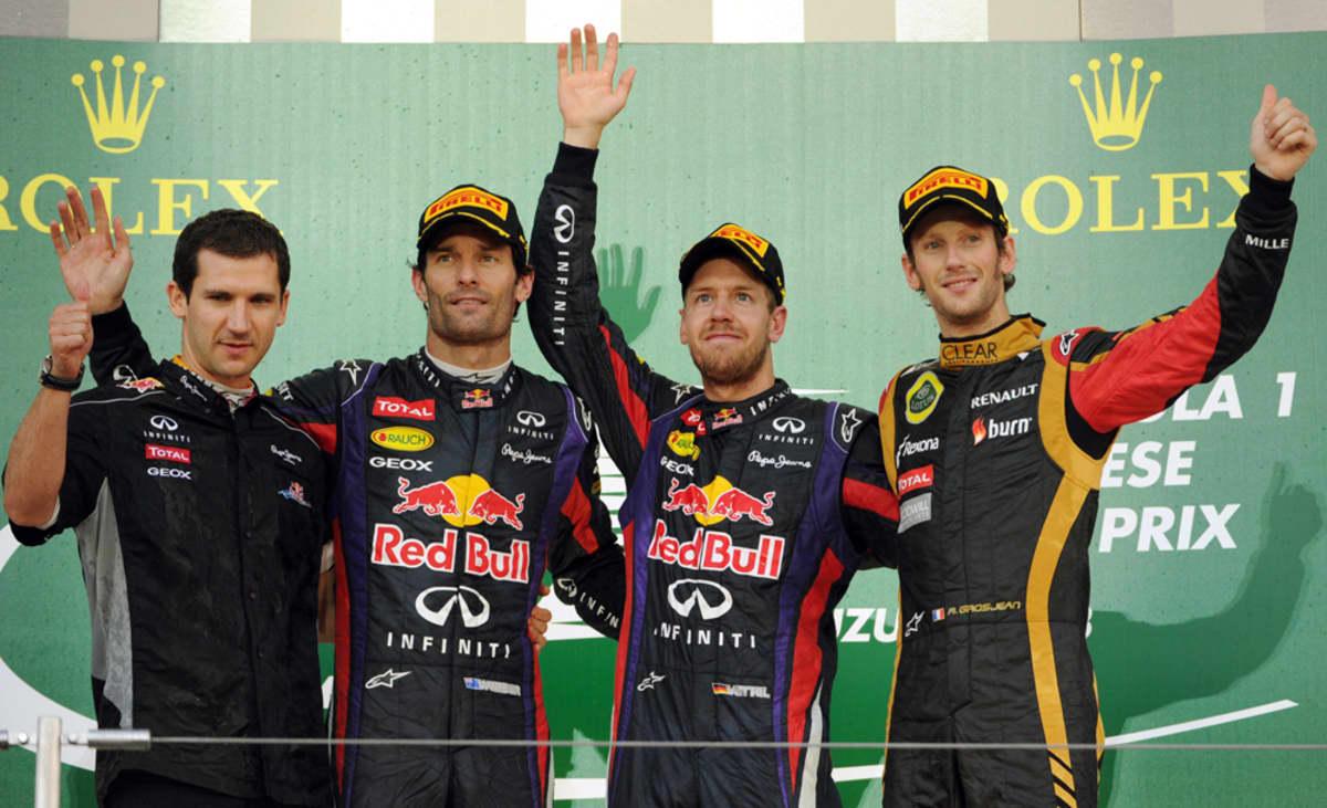 Remi Taffin, Red Bull -kaksikko Webber-Vettel ja Grosjean
