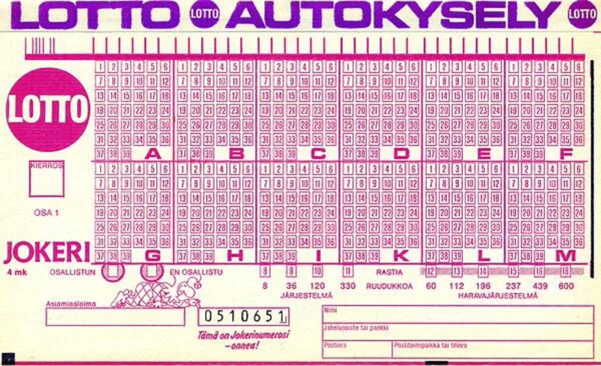 Lottokuponki vuodelta 1987.