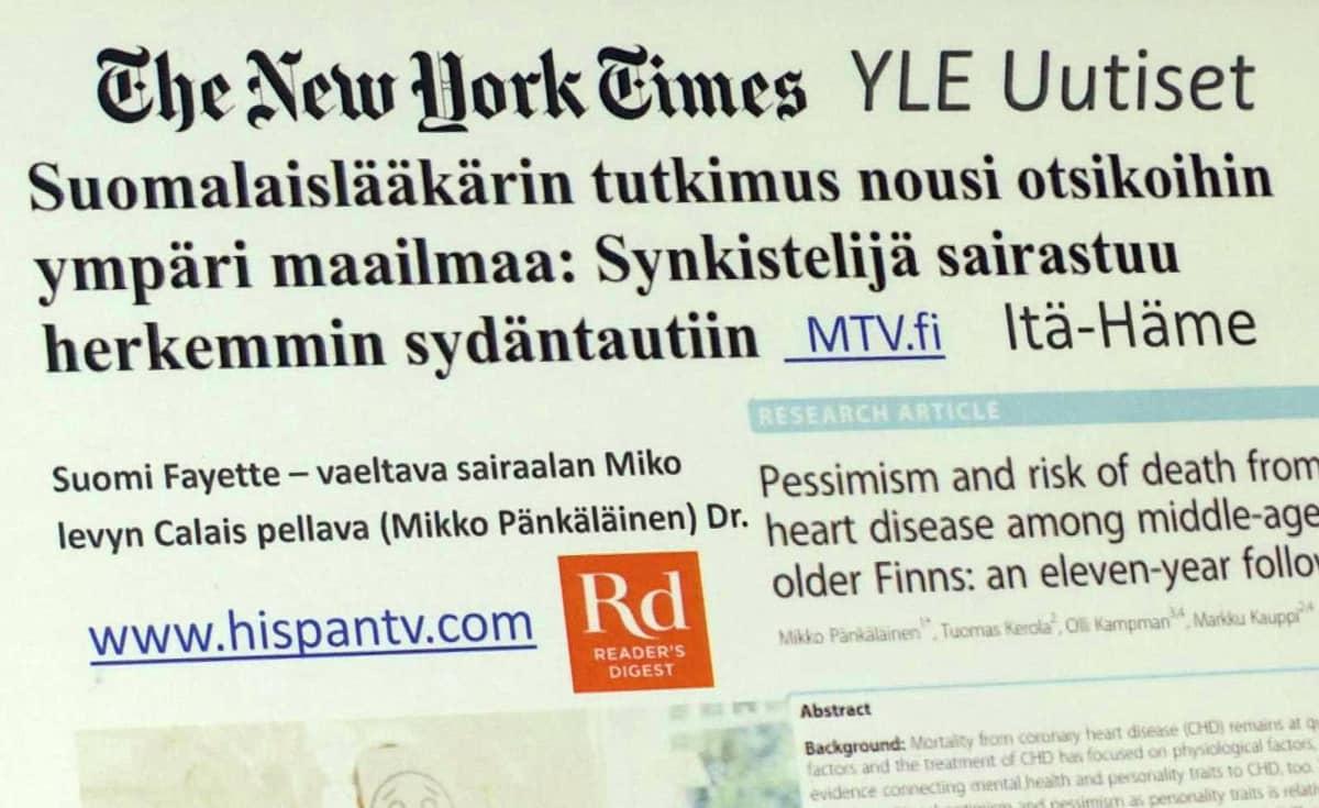 Mikko Pänkäläisen tutkimustuloksesta on uutisoitu ympäri maailman
