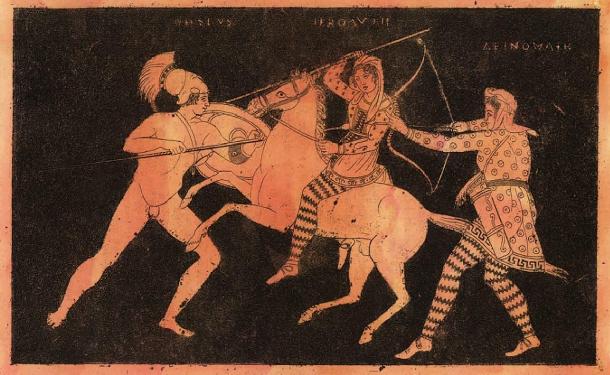 Kypäträpäinen soturi iskee keihäänsä ratsastavaan naiseen, jolla myös on keihäs. Toinen soturi yrittää puolustaa naista jousellaan.