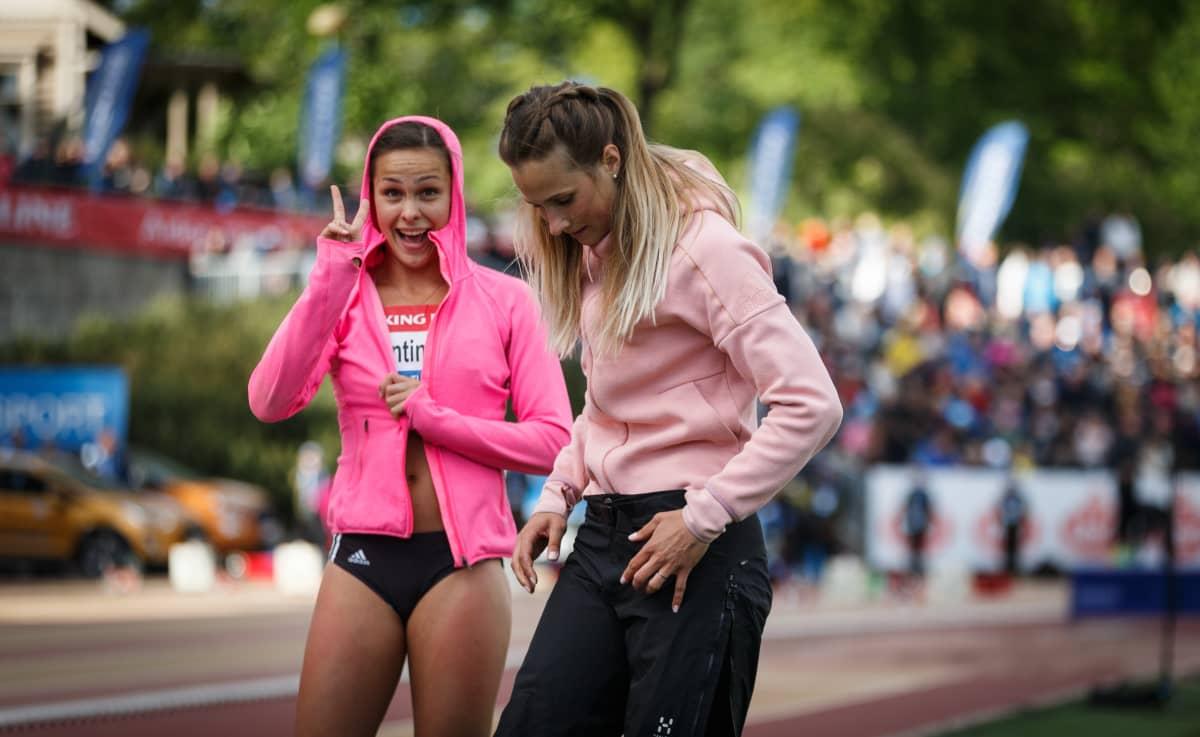 Maria Huntington ja Miia Sillman Paavo Nurmen -kisoissa.