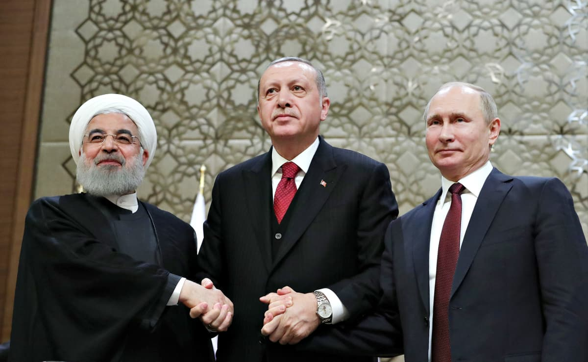 Hassan Rouhani,  Recep Tayyip Erdogan ja Vladimir Putin.