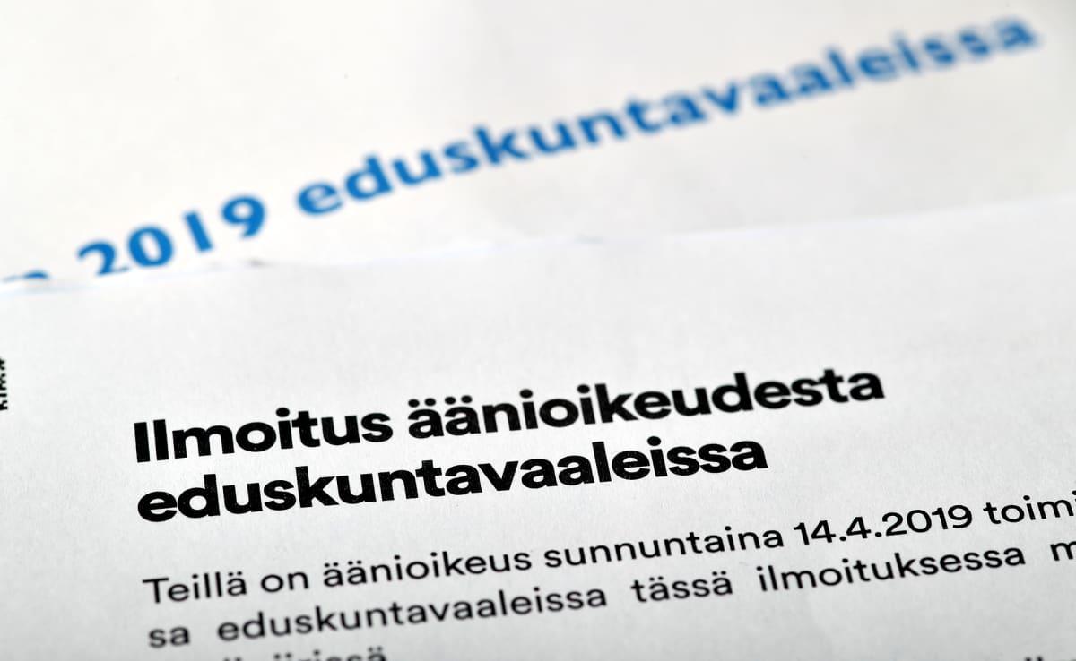 äänikoikeus eduskuntavaaleissa -kirje.