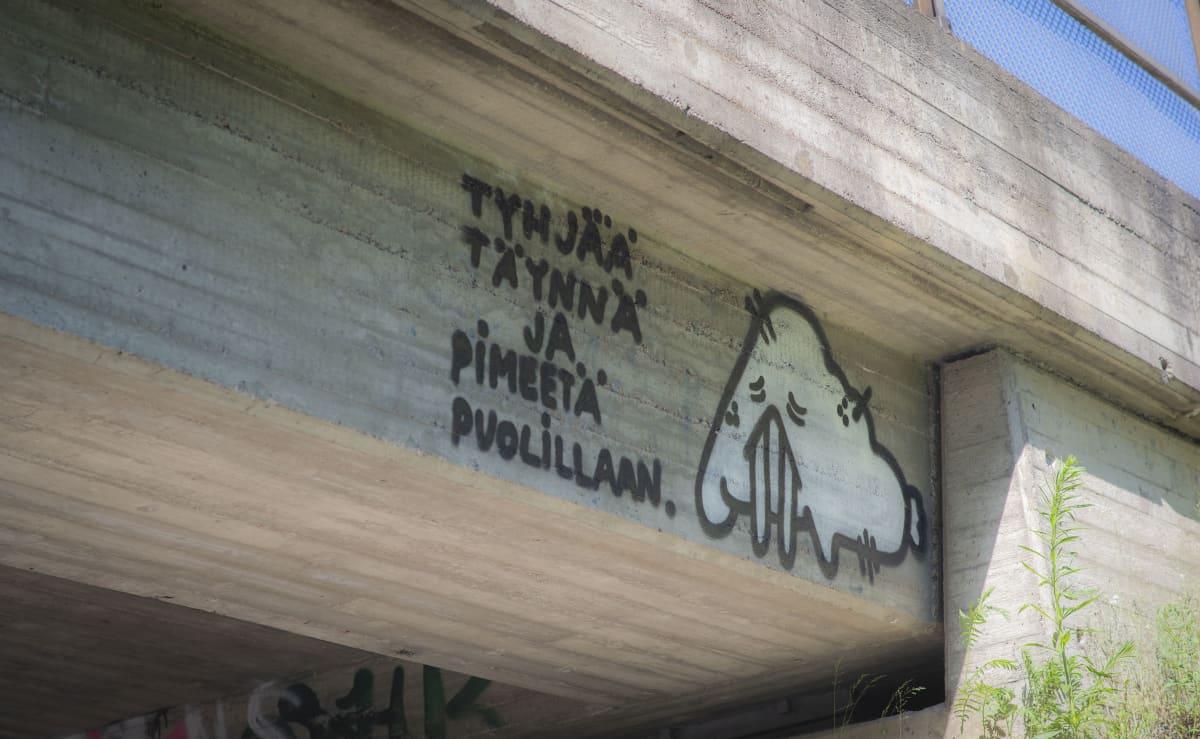 Murhemursu graffiti junasillassa ja teksti
