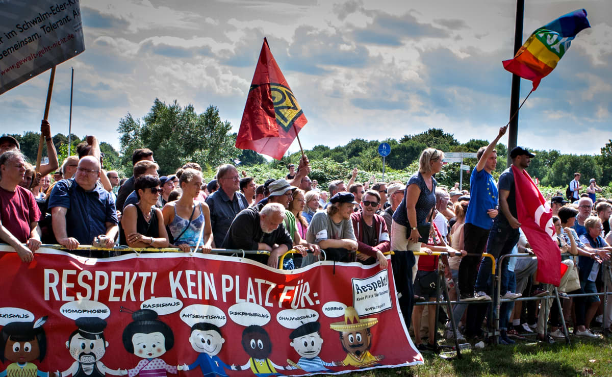 Mielenosoitus Kasselissa.
