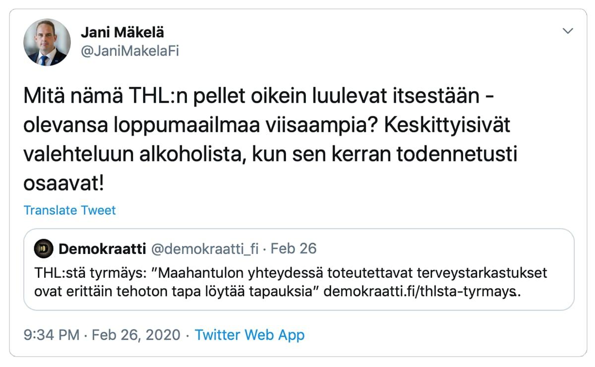 Kuvakaappaus Jani Mäkelän Twitter viestistä.