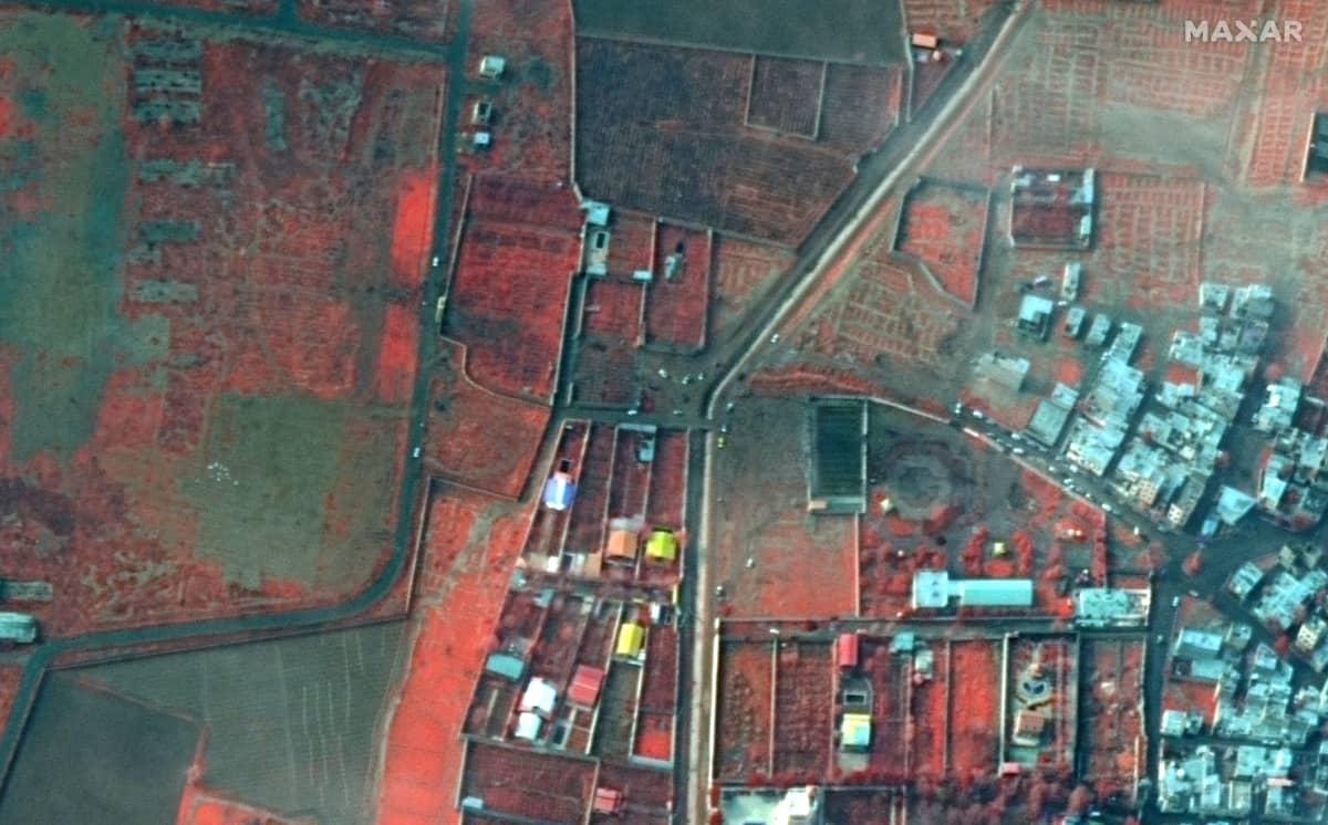 Satelliittikuva Teheranista, ukrainalaiskoneen onnettomuuspaikalta.