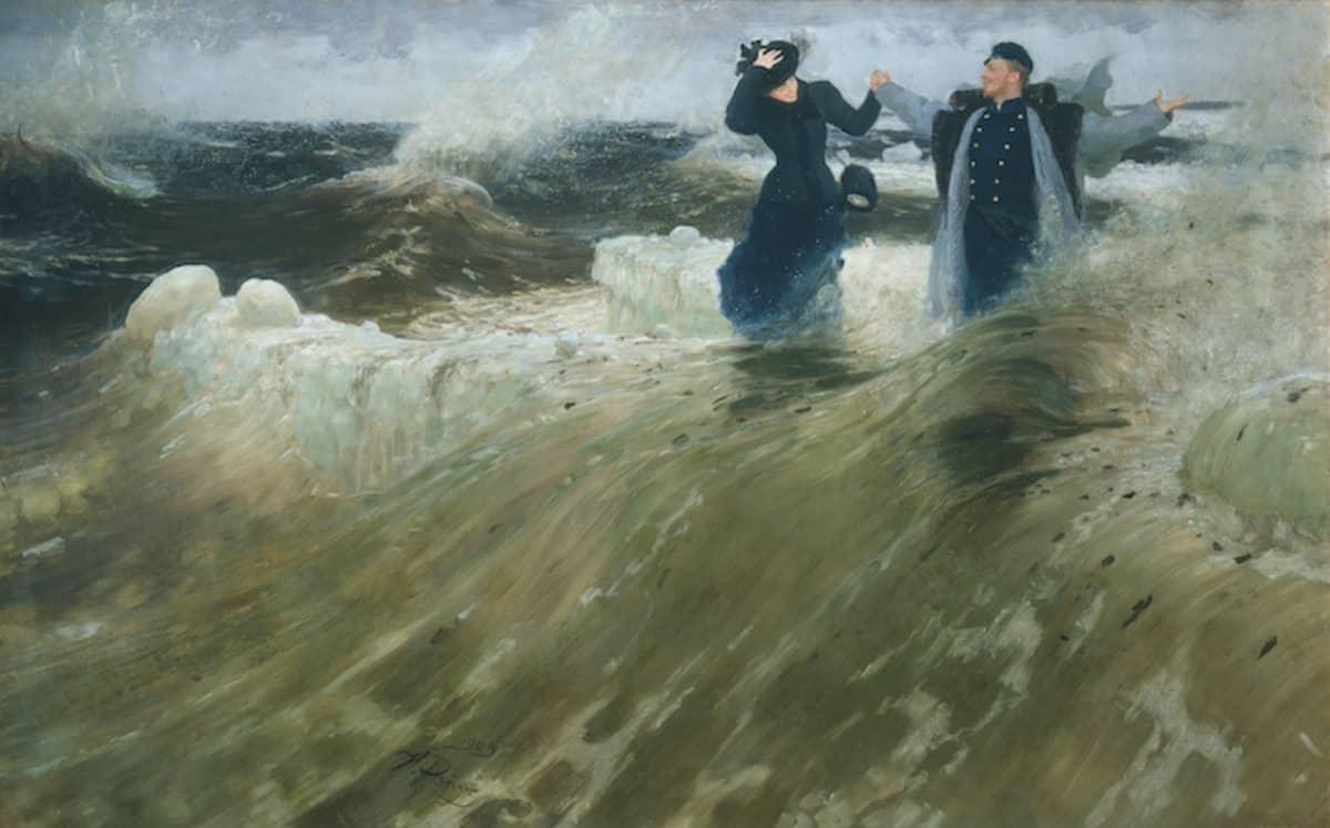 """Ilja Repin: """"Mikä vapaus!""""  Pariskunta myrskyävän meren sylissä."""