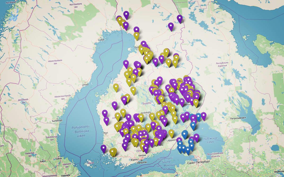 suomen kartta jossa täppiä