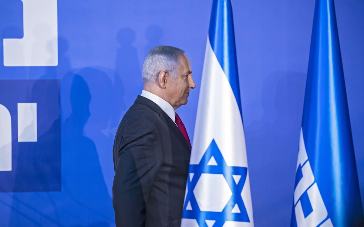 Israelin pääministeri Benjamin Netanjahu mediatilaisuudessa Jerusalemissa torstaina.