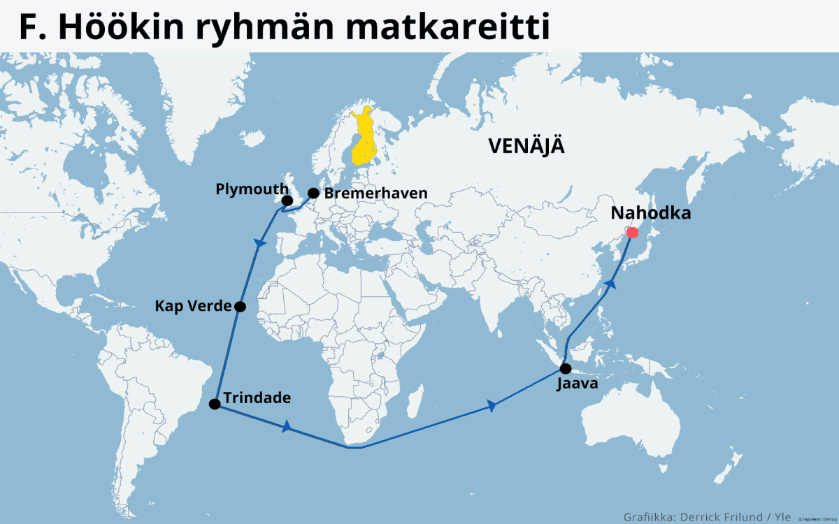 Kartta: Amurinmaan ihanneyhteisö, Fridolf Höökin laivamatka Bremehavenista Venäjälle Nahodkaan, Vladivostokiin.