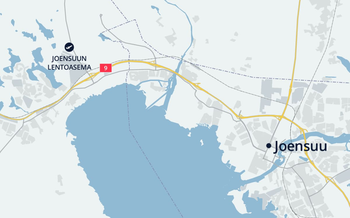 Kartta jossa näkyy Joensuu ja valtatie 9.