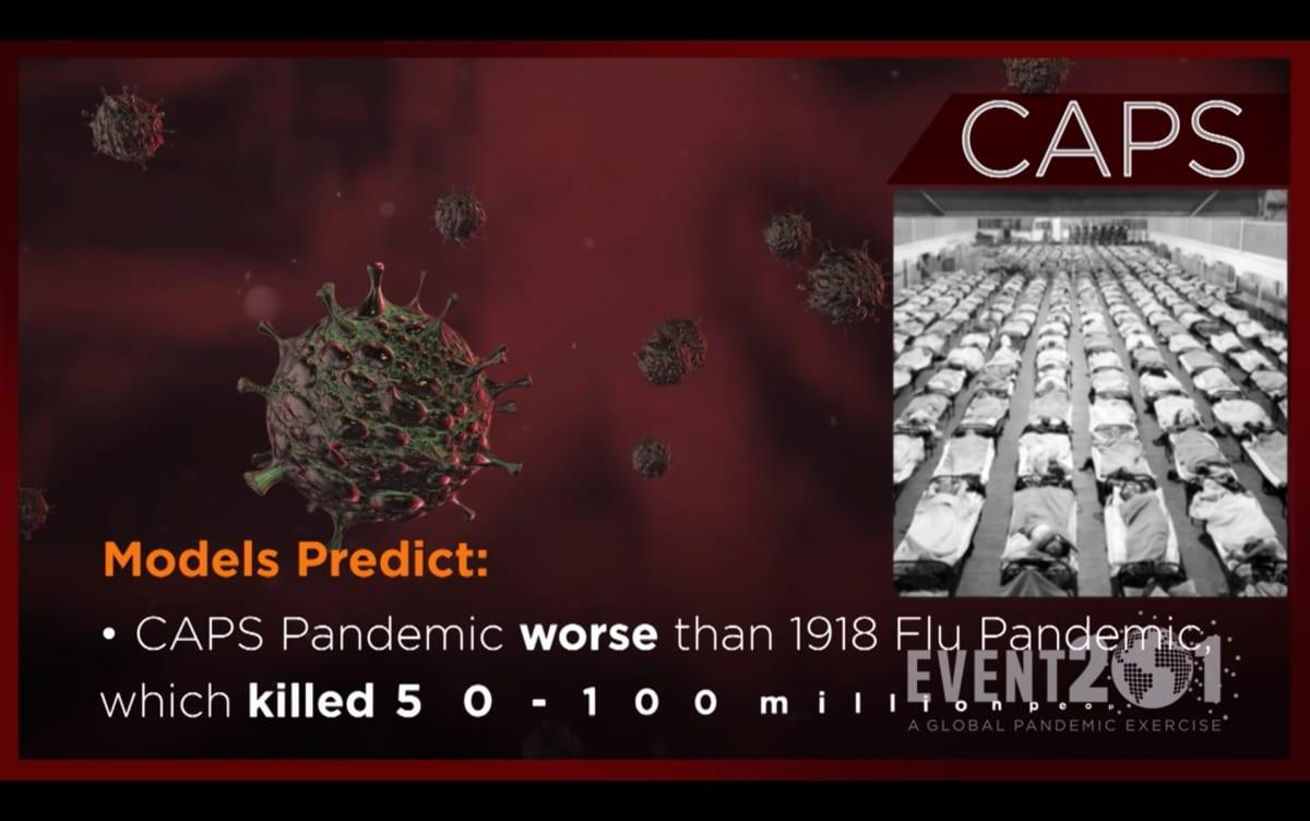 Kuvassa on kuvakaappaus kuvitteellisesta uutislähetyksestä, joka käsittelee fiktiivistä CAPS-koronavirusta.