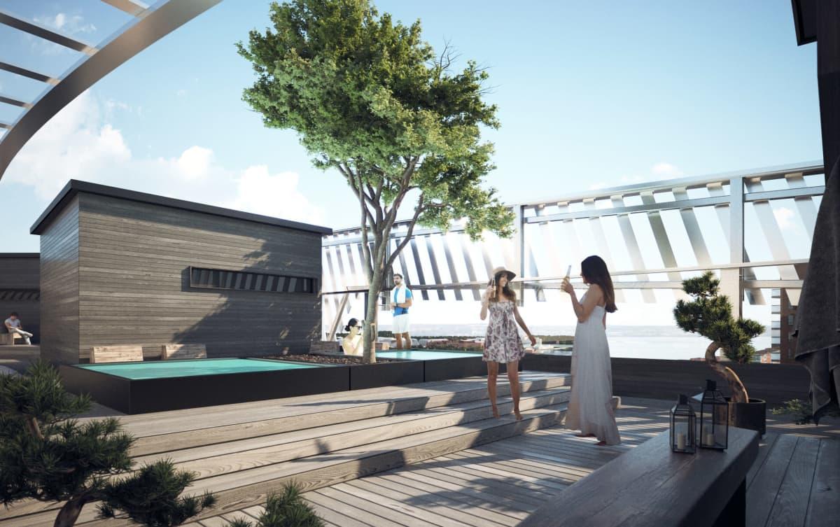 Havainnekuva, jossa kaksi naista nautti juomia aurinkoisella kattoterassilla. Taustalla kaksi henkilöä on uima-altaassa.