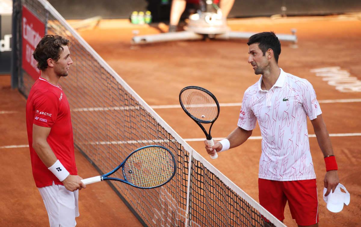 Casper Ruud ja Novak Djokovic