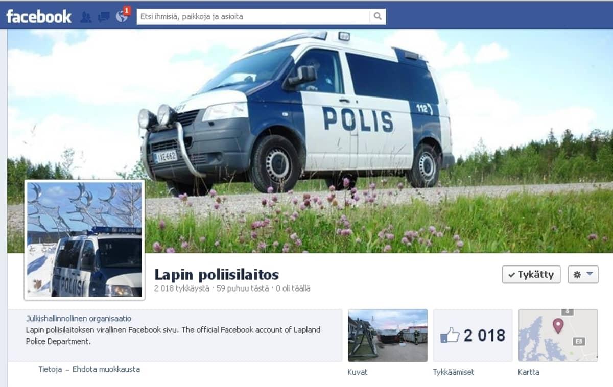 Lapin poliisilaitoksen facebooksivu