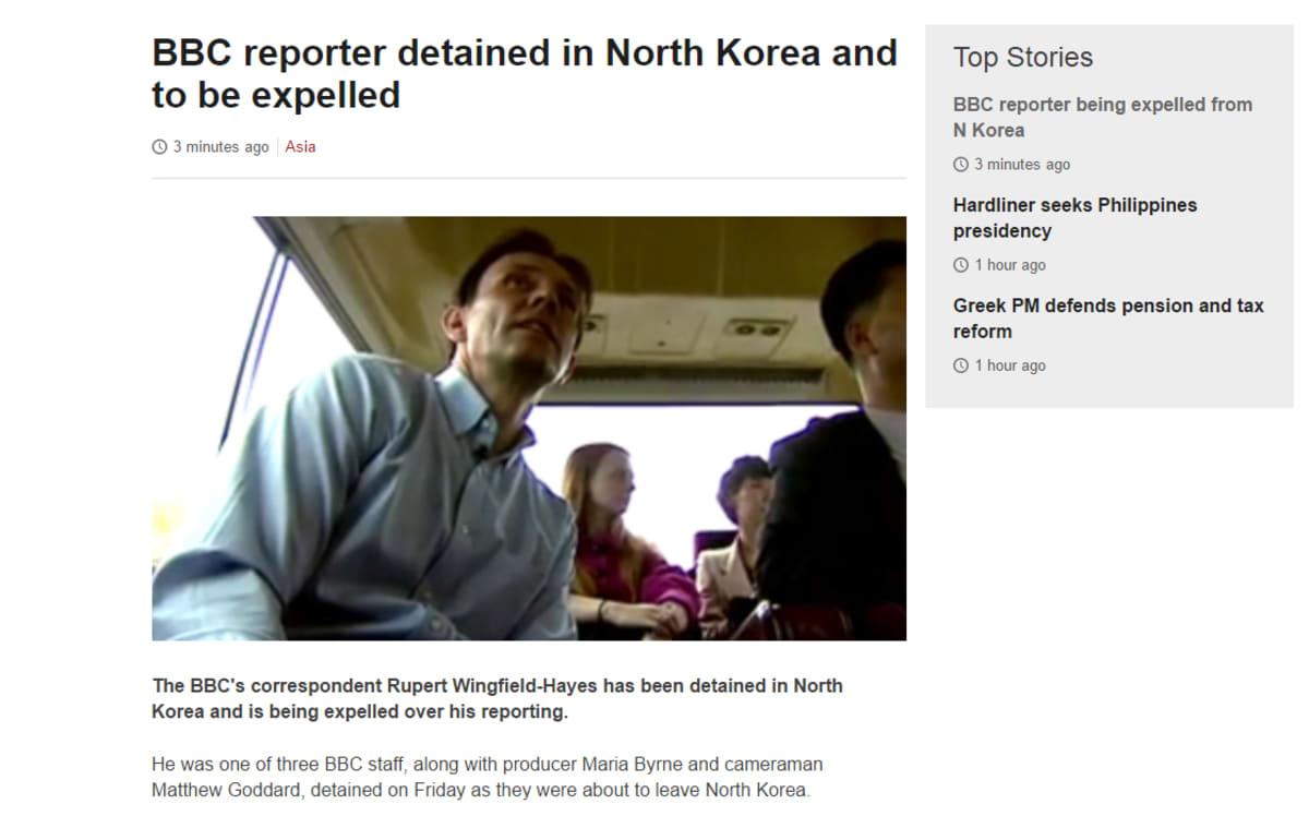 Kuvankaappaus BBC:n verkkosivuilta.