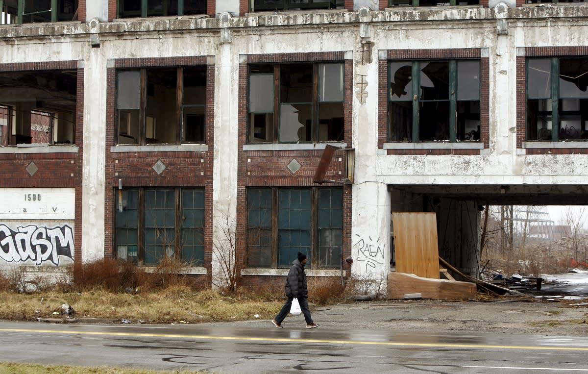 Hylättyjä rakennuksia Detroitissa.
