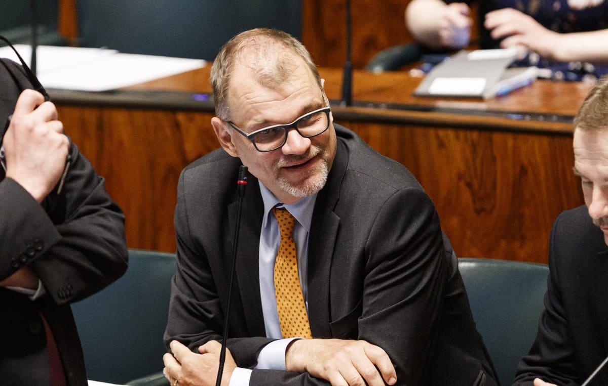 Juha Sipilä eduskunnan suullisella kyselytunnilla Helsingissä 4. kesäkuuta.