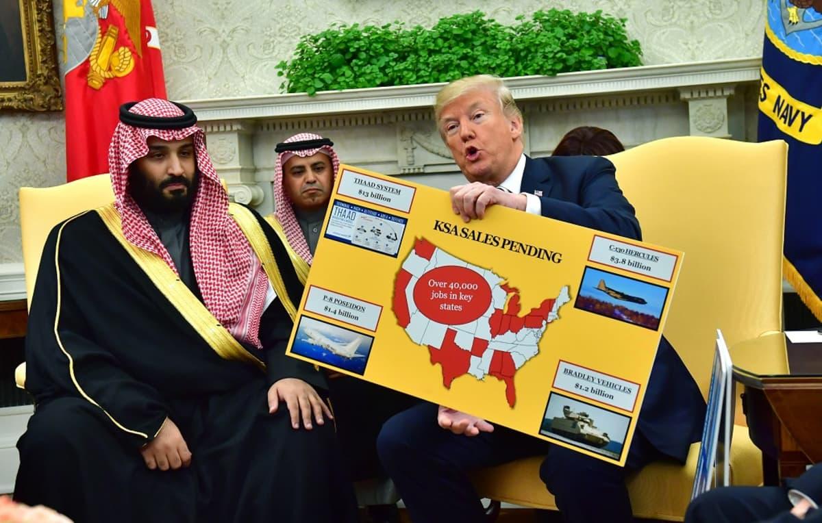 Trump puhuu pitäen kädessään isoa kaaviokuvaa. Saudiprinssi Mohammed bin Salman kuuntelee vakavana.