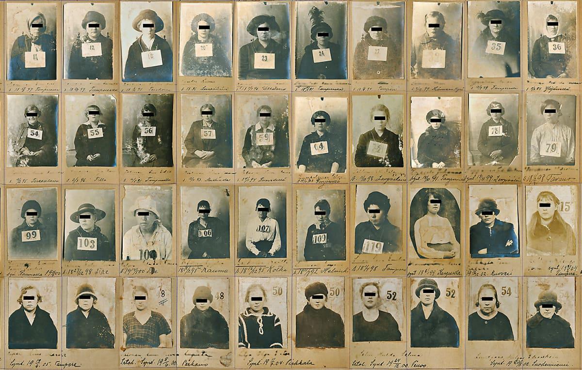 Poliisin pidätyskuvia 1900-luvun alusta.