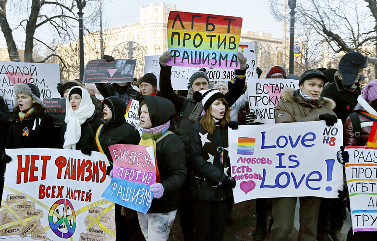 Seksuaalivähemmistöjen mielenosoitus.