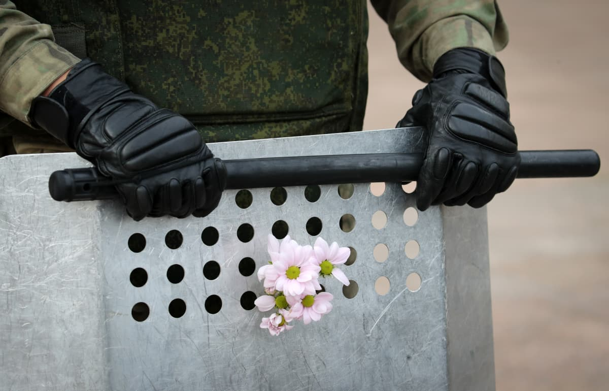 Mielenosoittajat työnsivät sotilaiden kilpivarustukseen kukkia Minskissä.