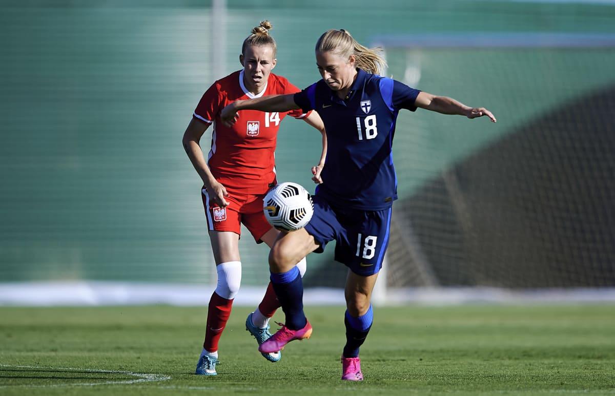 Linda Sällström Puola-ottelussa kesäkuussa.